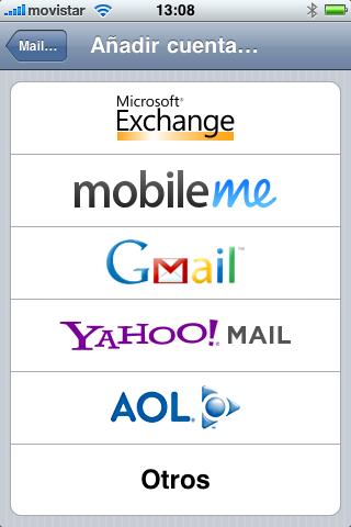 Elegimos Microsoft Exchange iphone 3GS