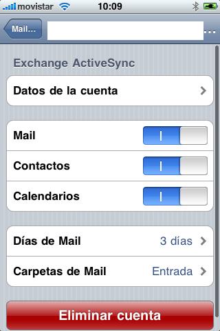 Elementos a Sincronizar iphone 3GS
