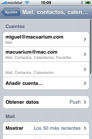 Mail contactos calendario Iphone 3GS