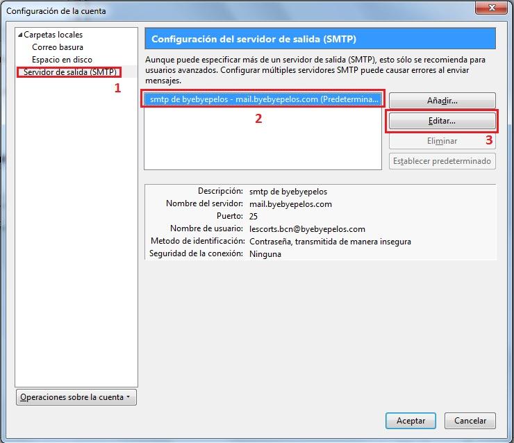 Modificación de SMTP en Thunderbird